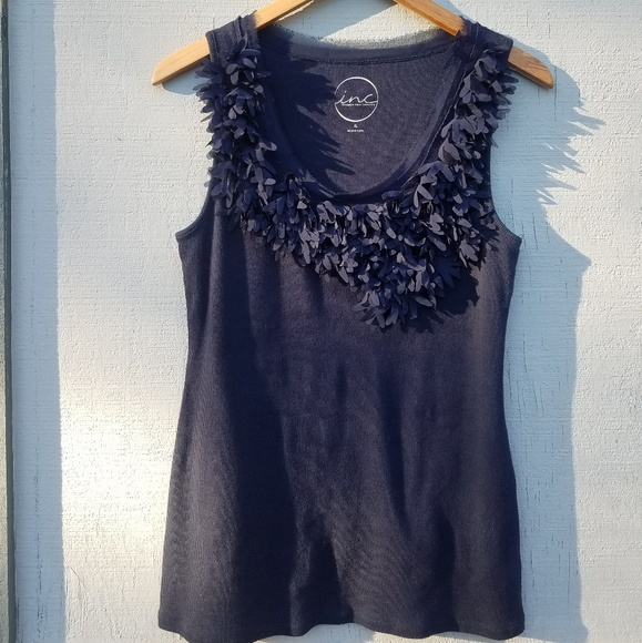 INC International Concepts Tops - INC | Dark Blue Tank Top Frilly Detail